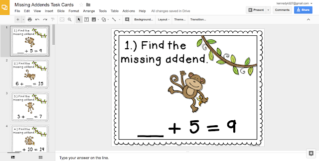 Paperless Missing Addends Task Cards