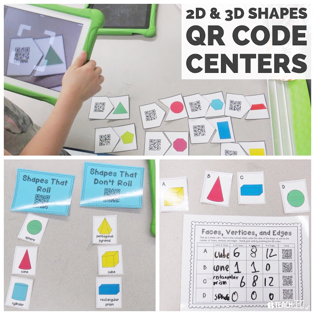 2D and 3D Shapes QR Code Centers. Make learning geometry concepts (Polygons, sides, angles, vertices, etc.) hands on and fun for your students. Your kids will love these activities, which can be completed in math centers using an iPad. Great way to integrate technology and QR codes in the classroom. (2nd Grade Common Core aligned.)